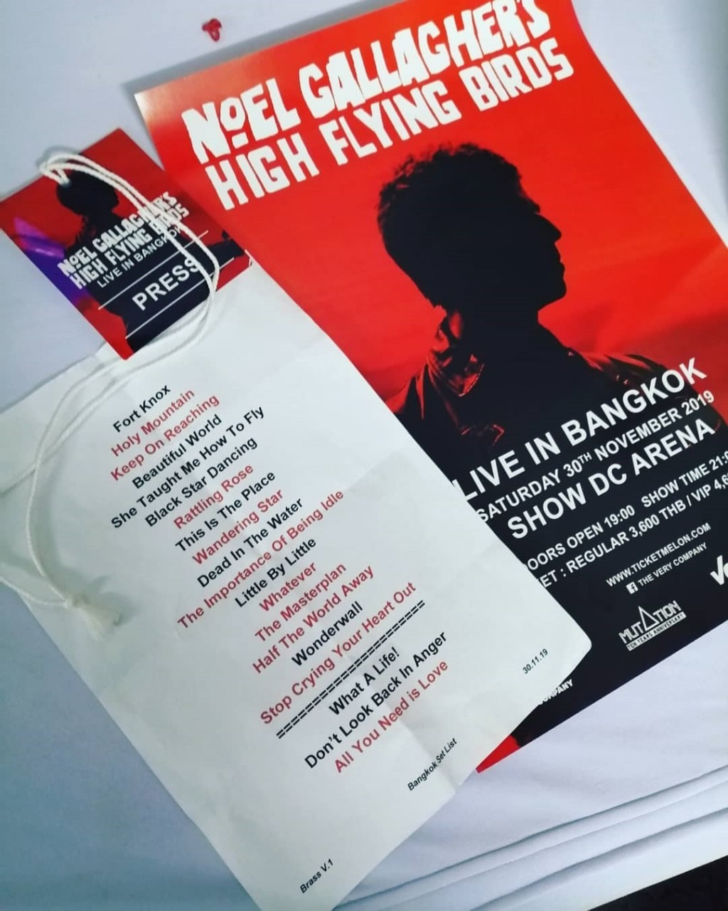 Video, Setlist di Noel Gallagher a Bangkok