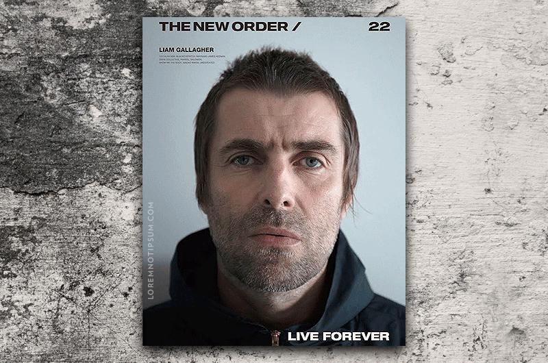 Liam sulla copertina di The New Order